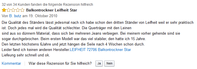 amazon kunden rezension leifheit star 21